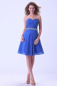 Sweetheart Beading Waist Ruched Blue Short Bridesmaid Dresses