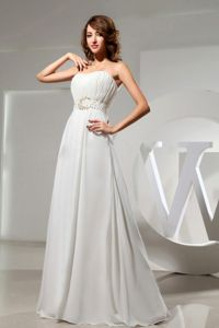 Strapless Ruched Beading Waist Empire formal Bridesmaid Dress