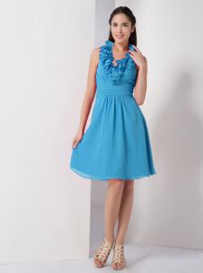 Ruffled Halter Short Light Sky Blue Bridesmaid Dress with Ruches