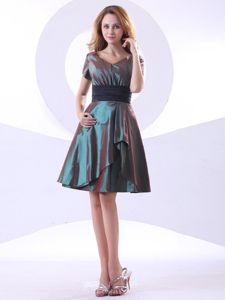 New V-neck Short Sleeves Mini-length Belt Dresses for Bridesmaid