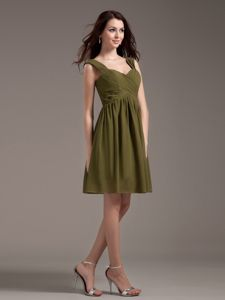Inexpensive Straps Mini-length Dresses for Bridesmaid with Ruches