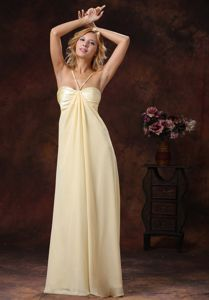 Light Yellow Long Maid of Honor Dress with Spaghetti Straps