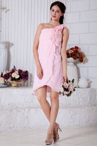 Low Price One Shoulder Pink Maid of Honor Dress with Flowers