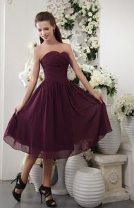 Empire Sweetheart Tea-length Burgundy Dresses for Bridesmaid
