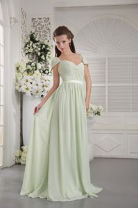 Cheap Cap Sleeves Brush Train Apple Green Maid of Honor Dress