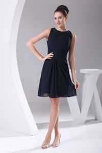 Navy Blue Short Dresses for Bridesmaid with Beaded Bateau Neck