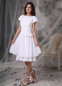 Trendy Bateau Short Sleeves White Short Maid of Honor Dress