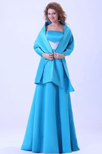 Blue Bridesmaid Dress Satin with Brush Train and Matching Shawl