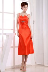 Orange Red Bridesmaid Dresses by Taffeta with Spaghetti Straps