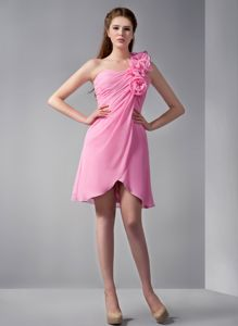 Pink One Shoulder Bridesmaid Dresses with Hand Made Flowers