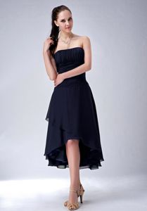 Navy Blue A-line High-low Jr Bridesmaid Dresses Strapless Ruched