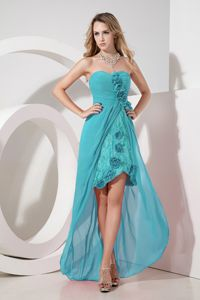 Baby Blue High-low Bridesmaid Dress Chiffon with Lace Embroidery