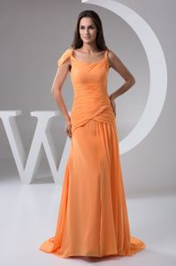Orange Chiffon Fall Bridesmaid Dresses with Brush Train and Ruches