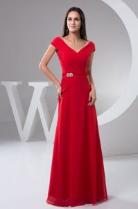 Ruched Off-the-shoulder Floor-length 2013 Bridesmaid Dresses Red