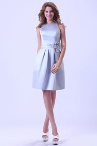 Bateau Silver Bridesmaid Dresses Online with Hand Made Flower