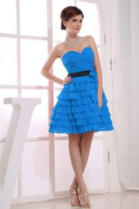 Sweetheart A-Line Bridesmaid Dresses Cheap with Ruffles Teal