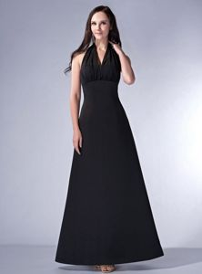 New Arrival Halter Top Long Black Bridesmaid Dress on Discount