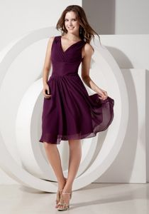 Empire V-neck Dark Purple Bridesmaid Dress for Garden Wedding