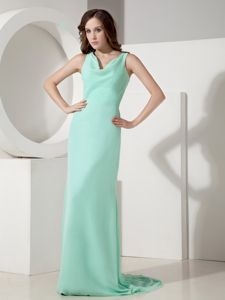 Cheap Brush Train Apple Green Dresses for Bridesmaid about 100