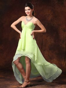 Yellow Green High-low Junior Bridesmaid Dress with Slot Neck