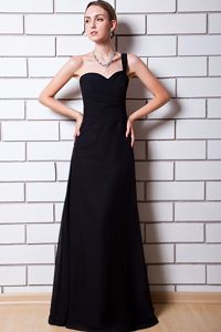 Plus Size One Shoulder Floor-length Black Maid of Honor Dresses
