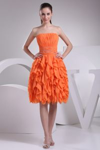 Strapless Ruched Ruffled Orange Knee-length Dress for Bridesmaid
