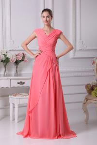 Ruched Watermelon Red Bridesmaid Dress for Garden Wedding