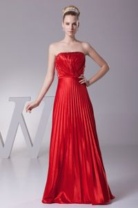 Discount Strapless Lace-up Pleated Red Long Maid of Honor Dress