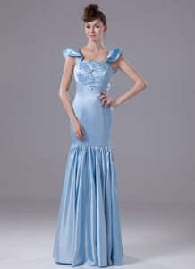 Affordable Mermaid Light Blue Bridesmaid Dress with Embroidery
