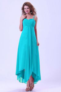 Spaghetti Straps High-low Ruched Modest Bridesmaids Dresses