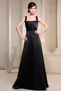 Cheap Black Square Neck A-line Maternity Bridesmaid Dresses