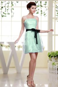 Spaghetti Straps Ruched Short Young Bridesmaid Dress with Belt