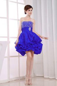 Royal Blue Strapless Pick-ups Beading Junior Bridesmaid Dresses