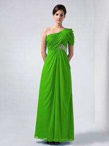 Spring Green One Shoulder Ruched Beading Bridesmaids Dresses