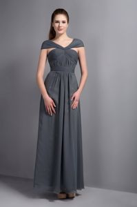 Grey V-neck Cap Sleeves Ankle-length Dresses for Bridesmaid