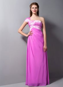 Pink One Shoulder Appliqued Ruched Young Bridesmaid Dresses