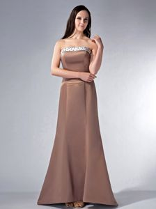 Chocolate Strapless Beaded Bridemaid Dress for Summer Wedding