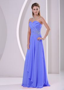 Cheap Blue Strapless Beaded Ruched Plus Size Bridesmaid Dress