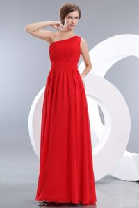 Red One Shoulder Empire Chiffon inexpensive Bridesmaid Dresses