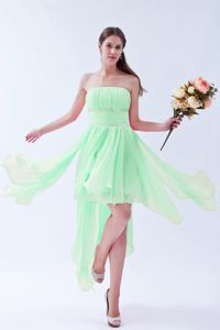 Discount Mint Colored Strapless Asymmetrical Bridesmaid Dress