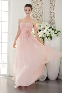 Pink Sweetheart Hand Made Flower Ruched Bridesmaid Dresses