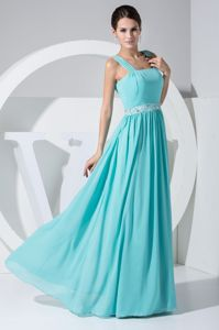 New Mint Colored Straps Bridesmaid Dresses with Beading Waist
