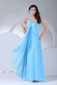 Cheap Sky Blue One Shoulder Ankle-length Bridesmaid Dresses