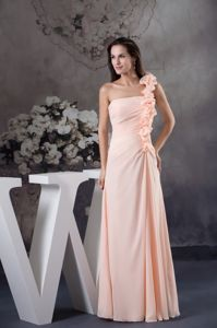Baby Pink One Shoulder Hand Made Flower Bridesmaids Dresses