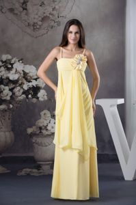Yellow Spaghetti Straps Hand Made Flower Bridesmaid Dresses