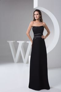 Best Black Strapless Sash Bridesmaid Dress for Summer Wedding