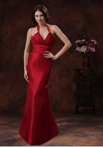 Discount Red Mermaid Halter Bridesmaid Dress in Wedding Party