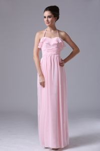 Popular Halter Pink Chiffon Column Designer Bridesmaid Dress