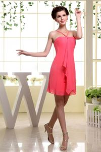 Wholesale Straps Mini-length Coral Red Dresses for Bridesmaid