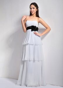 Tiered Pleated White Long Junior Bridesmaid Dress with Flowers